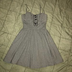 Bebe gingham dress black and white size xxs